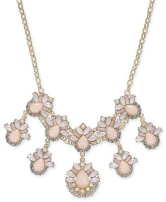 "INC International Concepts I.N.C. Gold-Tone Stone & Crystal Teardrop Statement Necklace, 18"" + 3"" extender, Created for Macy's"