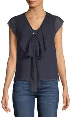 Gauze Ruffled Sleeveless Cotton Top