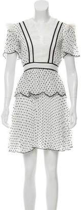 Self-Portrait Textured Lace-Trimmed Dress w/ Tags