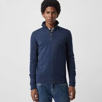 Burberry Merino Wool Half-zip Sweater, Blue