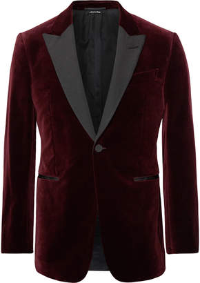 Dunhill Burgundy Kensington Slim-Fit Faille-Trimmed Cotton-Velvet Tuxedo Jacket - Men - Burgundy