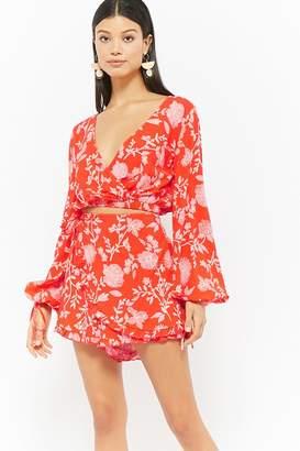 Forever 21 Selfie Leslie Floral Lantern-Sleeve Top