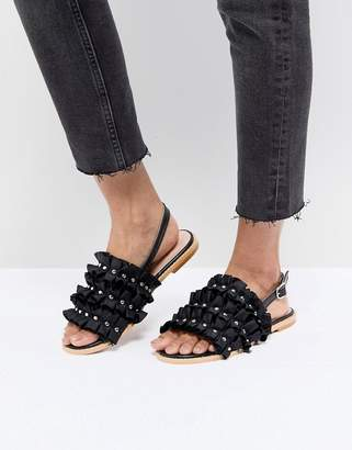 Lost Ink Black Ruffle Pearl Detail Sandals