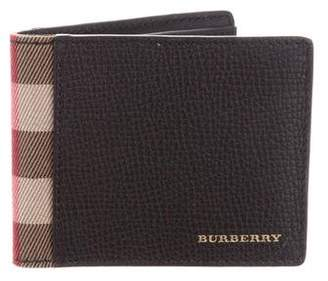 Burberry House Check-Trimmed Leather Wallet
