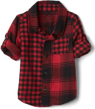 Gap Mix-plaid flannel convertible shirt
