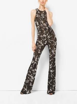 Michael Kors Crystal-Embroidered Floral Lace Flared Jumpsuit