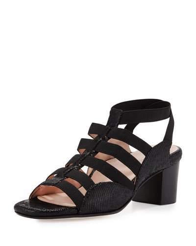 Taryn Rose Reesa Caged Chunky-Heel Sandal, Black