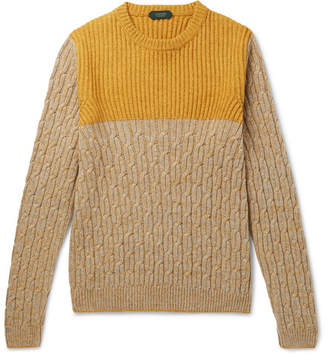 Incotex Colour-Block Mélange Virgin Wool And Yak-Blend Sweater
