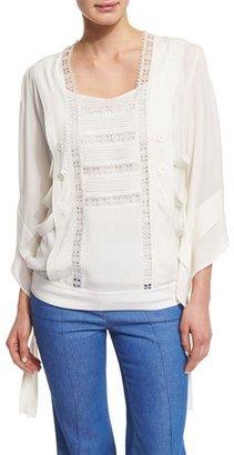 Derek Lam Lace-Trim Kimono-Style Tunic, White $1,295 thestylecure.com