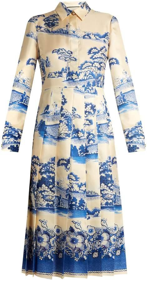 GUCCI Porcelain garden-print silk midi dress