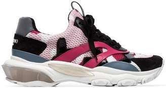 Valentino pink, black and grey garavani bounce camo sneakers
