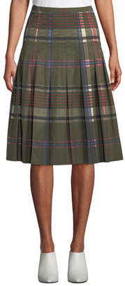 Akris Punto Pleated Plaid Midi Bell Skirt