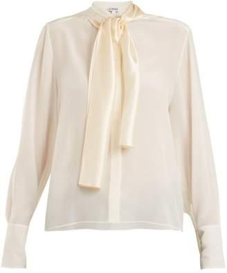 Loewe Lavalliere Neck Silk Crepe De Chine Blouse - Womens - Ivory