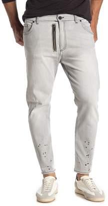 Jared Lang Paint Splatter Expose Zip Skinny Jeans