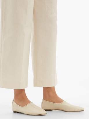 BY FAR Petra High Cut Vamp Leather Loafers - Womens - White