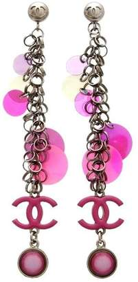 Chanel CC Logo Silver Tone Metal Spangles Super Long Pink Stud Earrings
