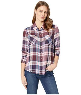 Lucky Brand Women's Yarn Dyed Plaid Button UP Shirt in Burgundy Multi