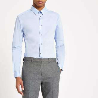 River Island Mens Light Blue poplin muscle fit shirt