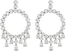 ZYDO Unique 18k White Gold Diamond Hoop Drop Earrings