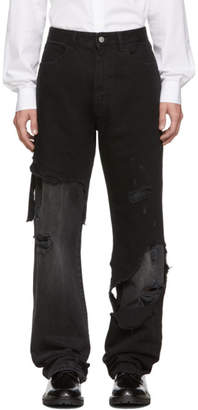 Raf Simons Black Destroyed Relaxed-Fit Jeans