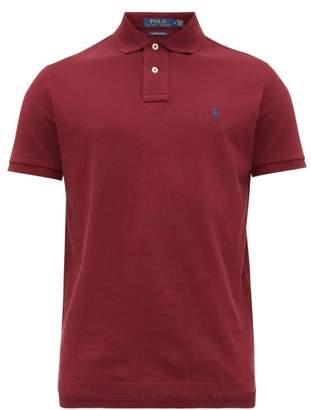 Polo Ralph Lauren Logo Embroidered Cotton Pique Polo Shirt - Mens - Burgundy