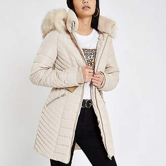 River Island Cream faux fur trim belted padded jacket