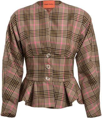 Maggie Marilyn Seize The Day Plaid Peplum Tweed Blazer Jacket