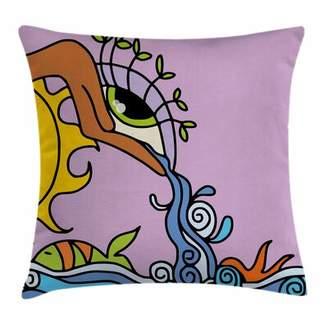 Ambesonne Eye Fantasy Sun Waterfall Square Pillow Cover Ambesonne