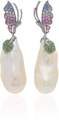 Wendy Yue Pearl And Pink Sapphire Earrings