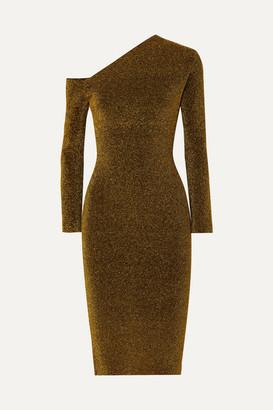 SOLACE London Liva Cold-shoulder Stretch-lurex Dress - Gold