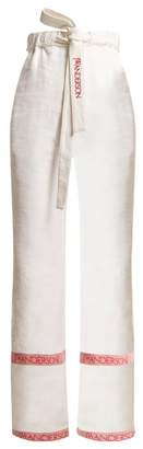 J.W.Anderson Wide Leg Linen Trousers - Womens - White