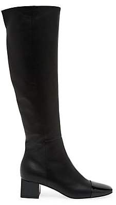 Gianvito Rossi Women's Watts Two-Tone Cap-Toe Knee-High Leather Boots