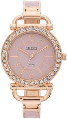 Studio Time Women's Crystal Hinged Cuff Watch