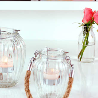 The Luxe Co Glass Lantern Rope Handled Candle Holder