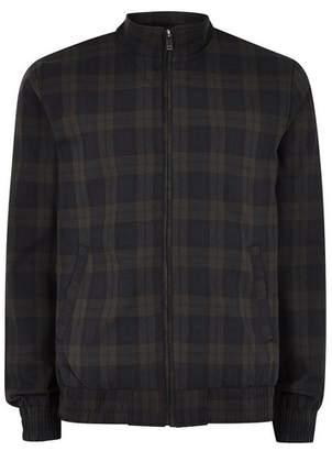 Topman Mens Black Watch Check Harrington Jacket