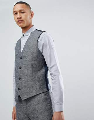 French Connection Slim Fit Gray Herringbone Suit vest
