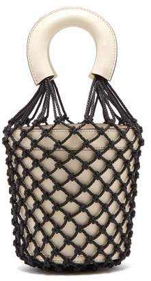STAUD Moreau Macrame And Leather Bucket Bag - Womens - Black Cream