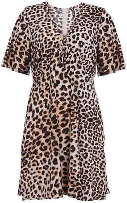 Quiz Stone And Black Leopard Print Swing Dress