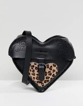 Dr. Martens Leather Heart Cross Body Bag with Leopard Contrast