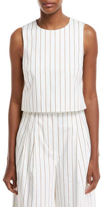 Tibi Sleeveless Stripe Sateen Top w/ Cutout Back