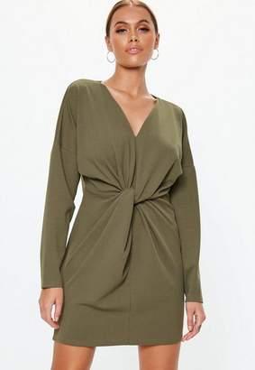 Missguided Khaki Knot Front Shift Mini Dress