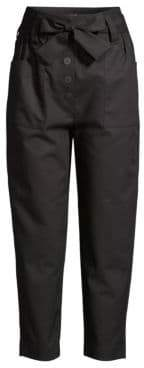 Maje Straight Leg Belted Ankle Pants