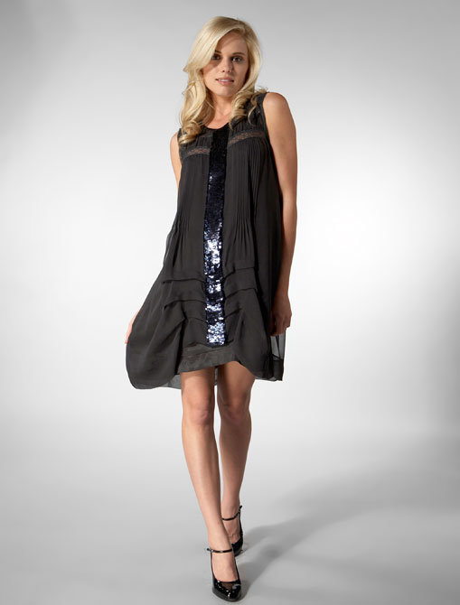 Development Sleeveless Pleated Inset Sequin Dress in Ink