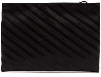 Balenciaga Logo-jacquard striped pouch