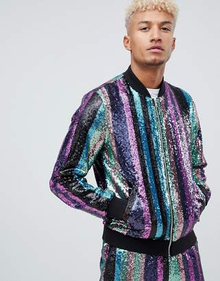 1b9d6fb0b80 Asos Design DESIGN two-piece bomber jacket in sequin stripe