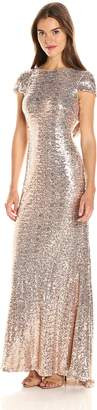 Badgley Mischka Women's Cowl Back Sequin Classic Gown Dress