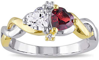 FINE JEWELRY Genuine Garnet and Lab-Created White Sapphire Double Heart Ring