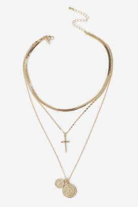 Topshop Coin and Cross Multi-Row Necklace
