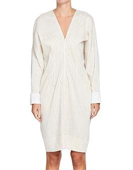 Bassike Stripe V Neck Long Sleeve Dress