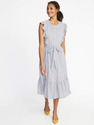 Old Navy Flutter-Sleeve Tie-Belt Midi Shirt Dress for Women
